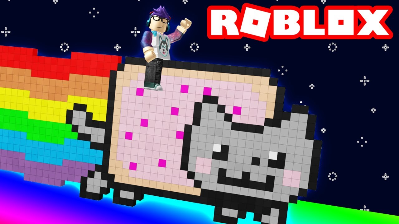 riding a nyan cat down a 9999ft rainbow slide in roblox youtube