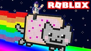 un gatto NYAN giù una diapositiva arcobaleno 9999FT in Roblox in sella!