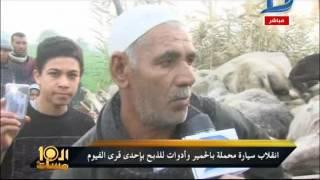 بالفيديو| انقلاب سيارة محملة بالحمير بإحدى قرى الفيوم