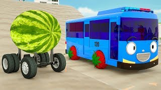 Learn Colors with Tayo Bus Assembly Tires with Watermelon | Fire Truck, Farm Truck for Kids Children