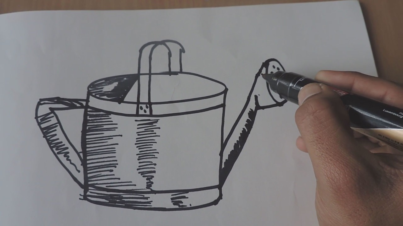 HOW TO DRAW POT DRAWING OF WATER CAN