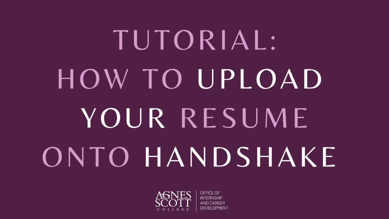 how to upload your resume onto handshake