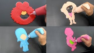 Kids Favorite Characters Pancake! Elmo, Dora, Pocoyo, Barney | Pancake Art Challenge