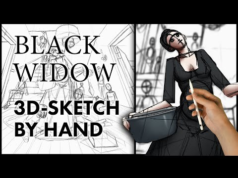 Sketching Strong Perspective - Black Widow Drawing thumbnail