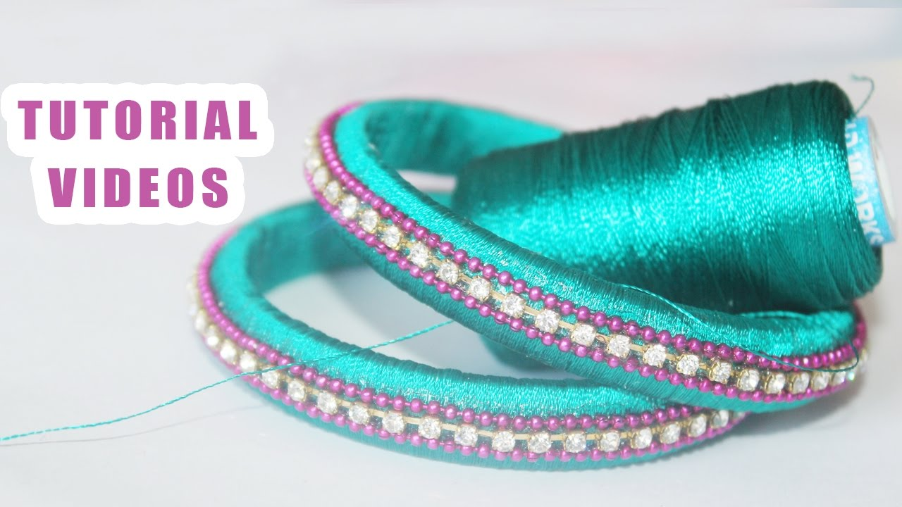 How To Make Designer Silk Thread Bangles At Home Free Tutorials Youtube