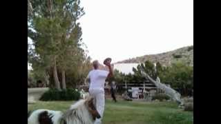 dad and cary playing football catch at the singing dove ranch wmv