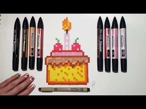 Birthday Cake Drawing Easy Pixel Art Youtube