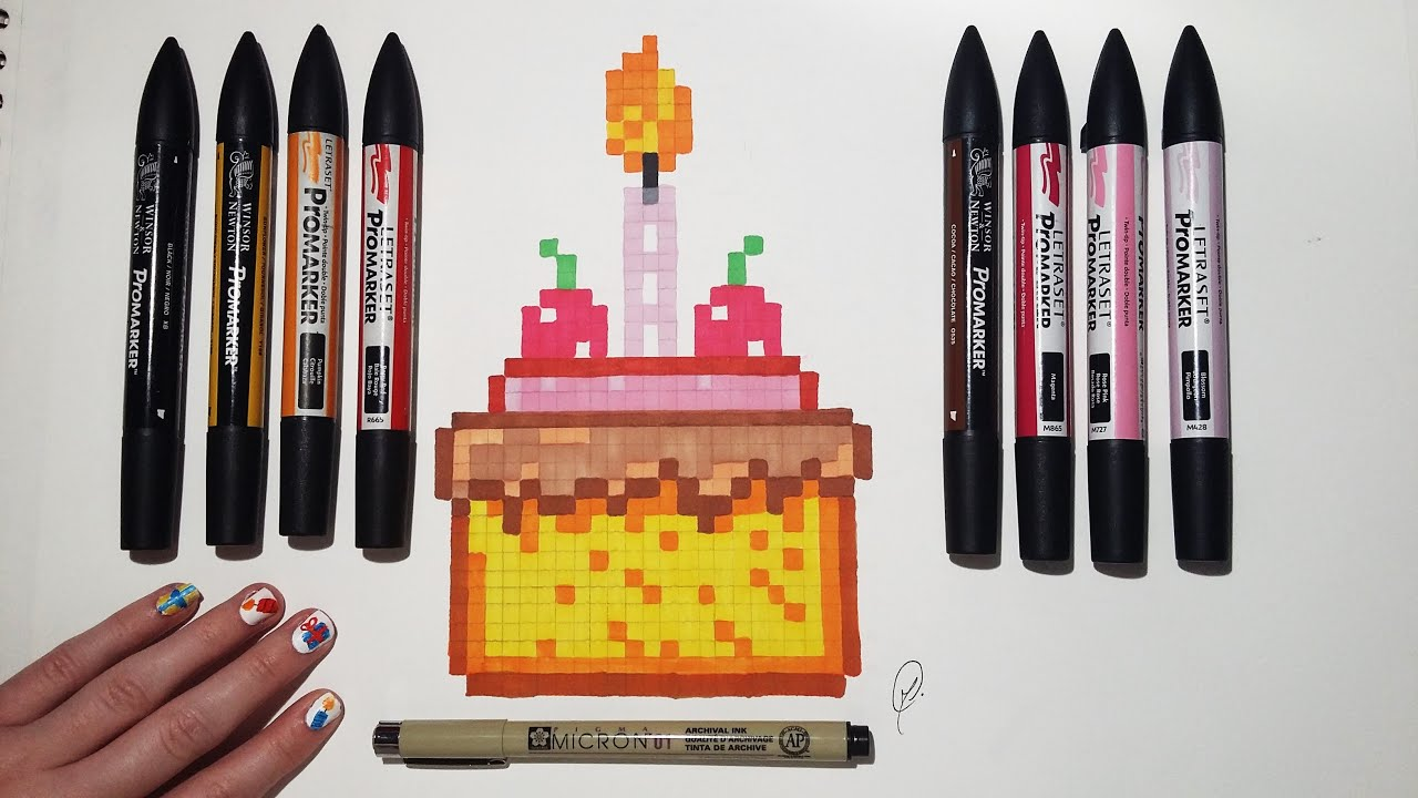 Birthday Cake Drawing Easy Pixel Art