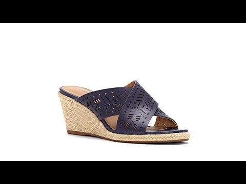 Lucky Brand Keela Leather Lasercut Crossband Wedge