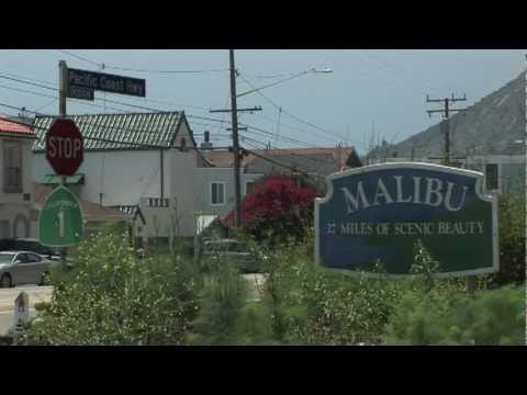 Malibu City Sign on Pacific Coast Highway Los Angeles County CA
