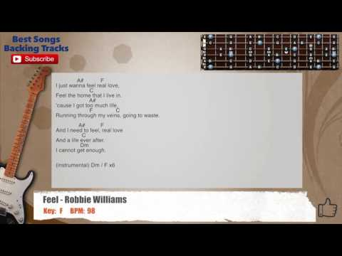Feel - Robbie Williams Guitar Backing Track with scale, chords and lyrics