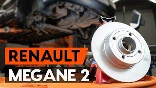 Comment changer Disque de frein RENAULT MEGANE II Saloon (LM0/1_) - video gratuit en ligne