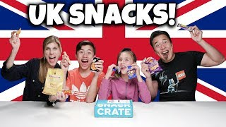 AMERICANS TRY BRITISH SNACKS!!! Snack Crate UK  Edition Challenge!