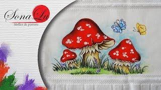 Cogumelos com Borboletas em Tecido por Sonalupinturas