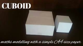 cuboid | maths model 3d shapes using A4 paper