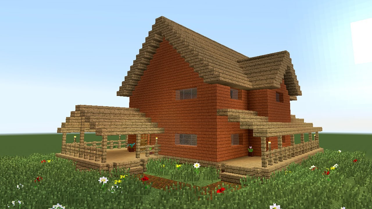 Minecraft how to build big wooden house 2 youtube for Big modern houses on minecraft