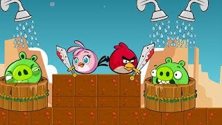 Angry Birds Take Shower - BEAT BAD PIGS TO STEAL WATER WELLS ALL LEVELS!