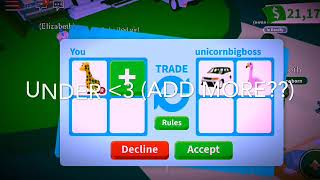 what people trade for neon ride-able giraffe?? *ADOPT ME* /Roblox/