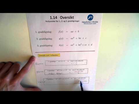 01-K-18 Nullpunkter, 1., 2. og 3. gr. lign., oversikt