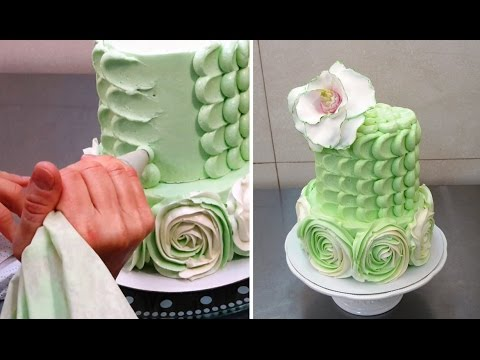 Buttercream Cake Decorating Designs : Swirl Roses and Petal Buttercream Cake How To Make by ...