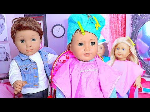 Baby Doll Hairdresser Salon Toys! American Girl Doll HairCut Shop, Dye Doll HairStylist pretend play