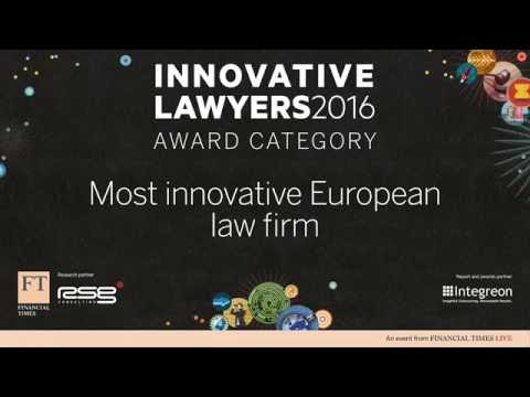 Most Innovative European Law Firm - Announced at 2016 FT Innovative Lawyers Awards in London
