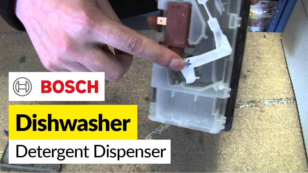 How to replace the dishwasher detergent dispenser on a Bosch dishwasher  YouTube