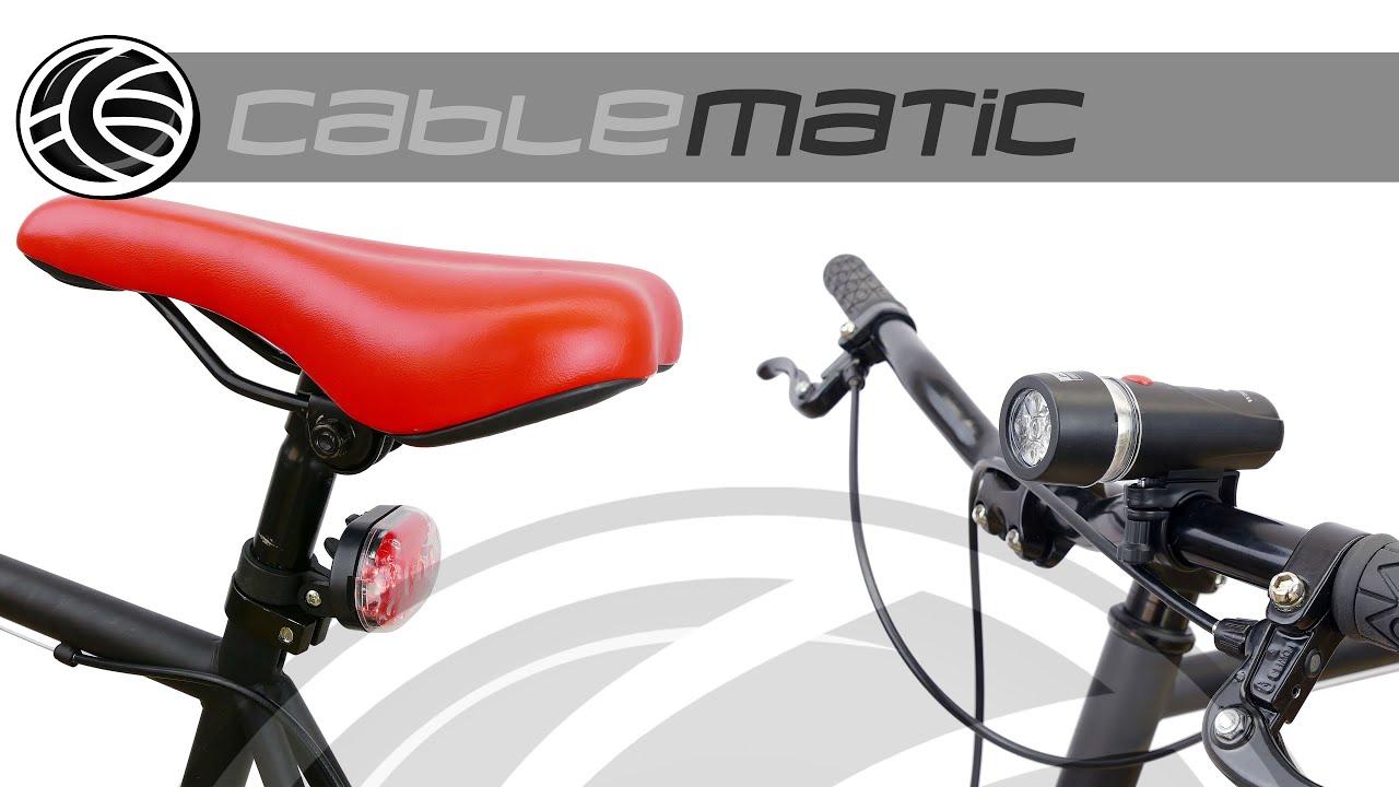 3acd7893f3b96 Kit de luz blanca delantera y roja trasera bici distribuido por CABLEMATIC ®