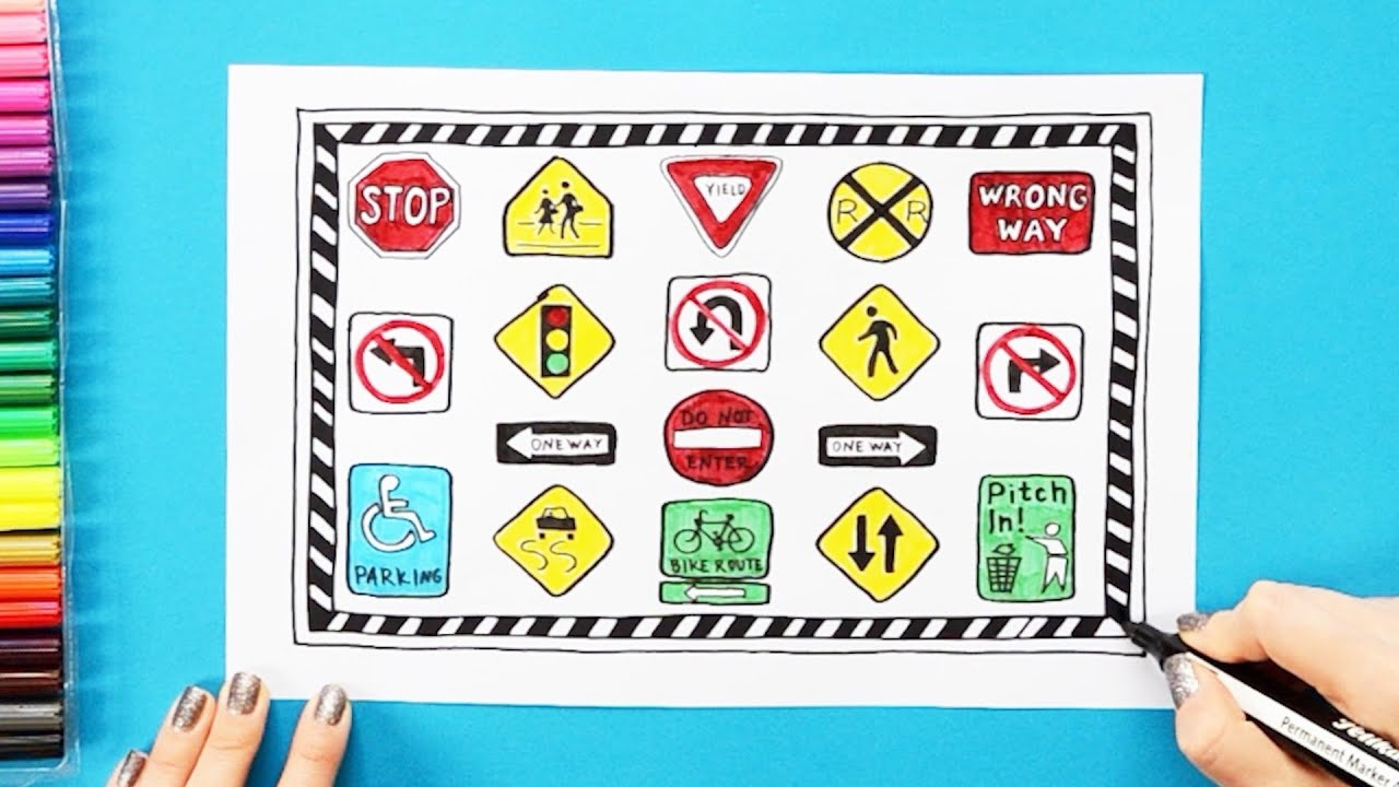 DRAW AND COLOR TRAFFIC SIGNS AND ROAD SIGNS FOR KIDS -TRAFFIC ... | 720x1280