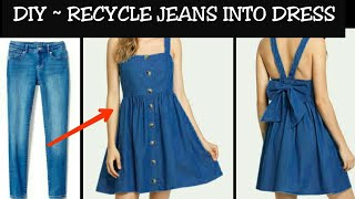 DIY : Convert/Reuse Old Men's Jeans into DENIM DRESS (HINDI)