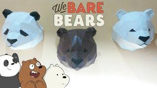 Cómo hacer al oso Pardo, Polar y panda con papel, We Bare Bears- papercraft
