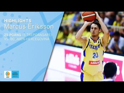 Marcus Eriksson - 25 poäng (5 trepoängare) vs. Bosnien-Hercegovina