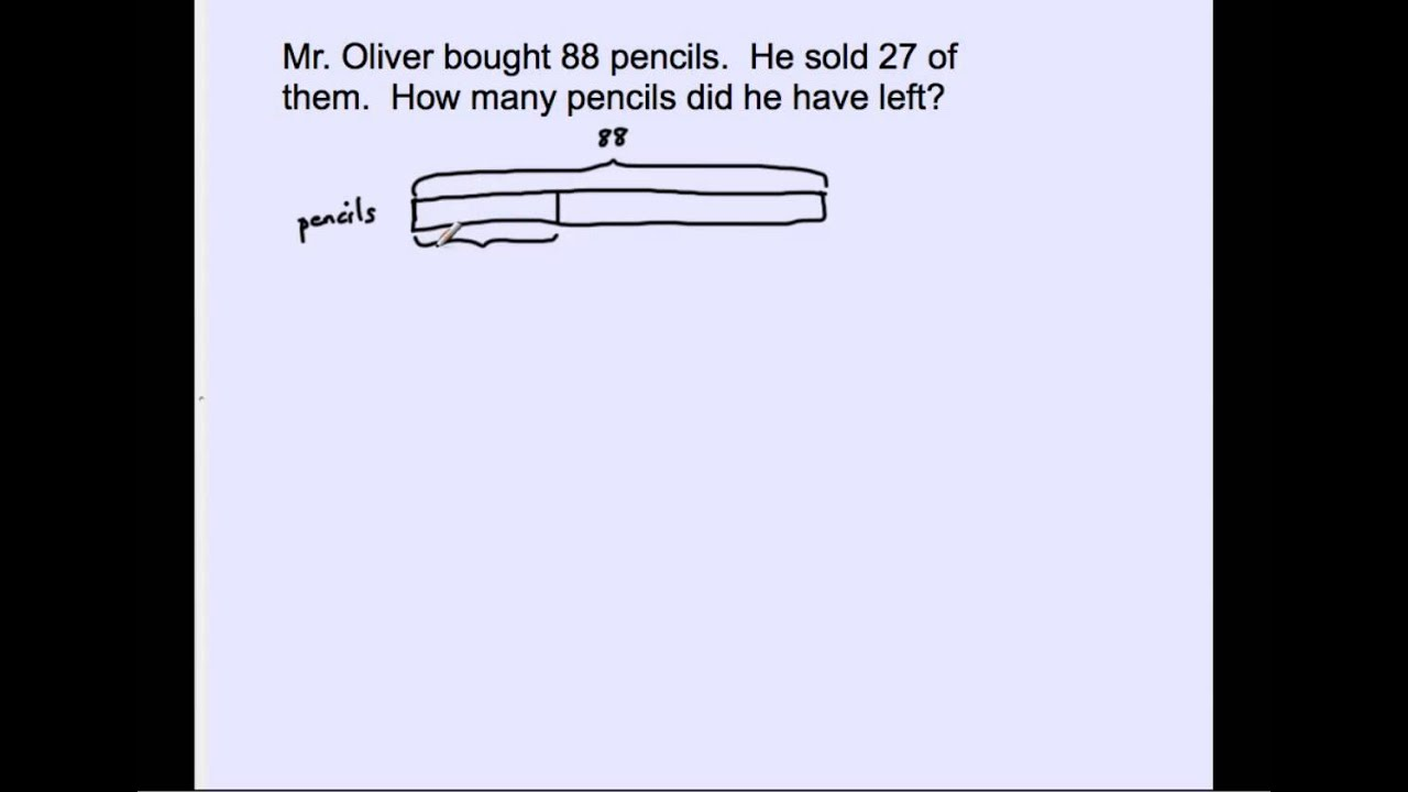 draw a diagram word problems wiring for 50cc chinese atv 2 oa 1 bar model part whole youtube