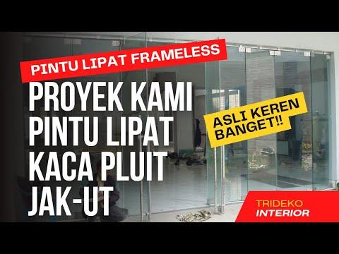 Partisi frameless aluminium kaca tempered laminated