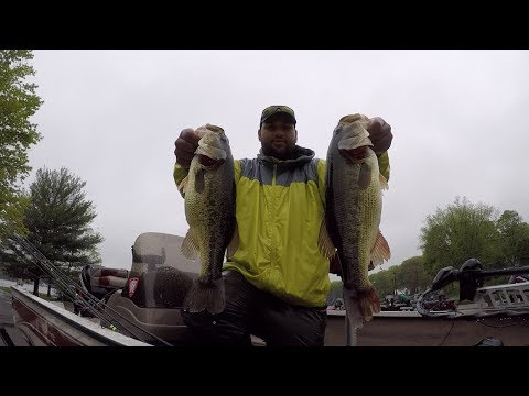 Bass Fishing Tournament On Highland Lake During A Spring Cold Front