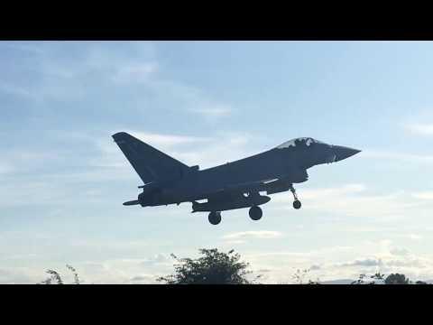 Flt Lt Ryan Lawton typhoon display pilot landing at Liverpool airport