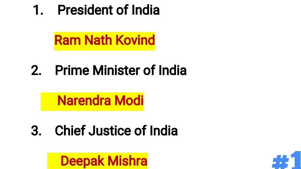 Constitutional Office Holder & Cabinet Ministers of India 2018 /Current  Affairs 2018/In Hindi/Engish