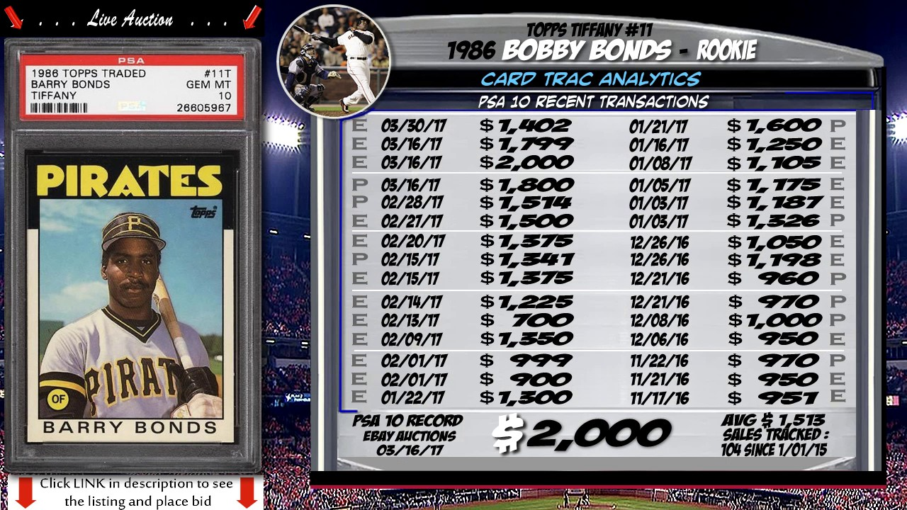 1986 Barry Bonds Topps Tiffany Rookie Card 11 For Sale Graded Psa 10 Pwcc Premier Auctions