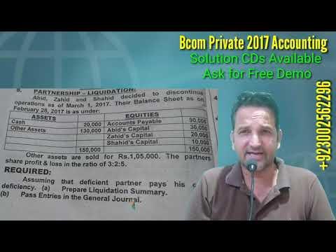 Bcom Part 1, Partnership liquidation, 2017 Private, Karachi University, Bcom Past Papers Solution