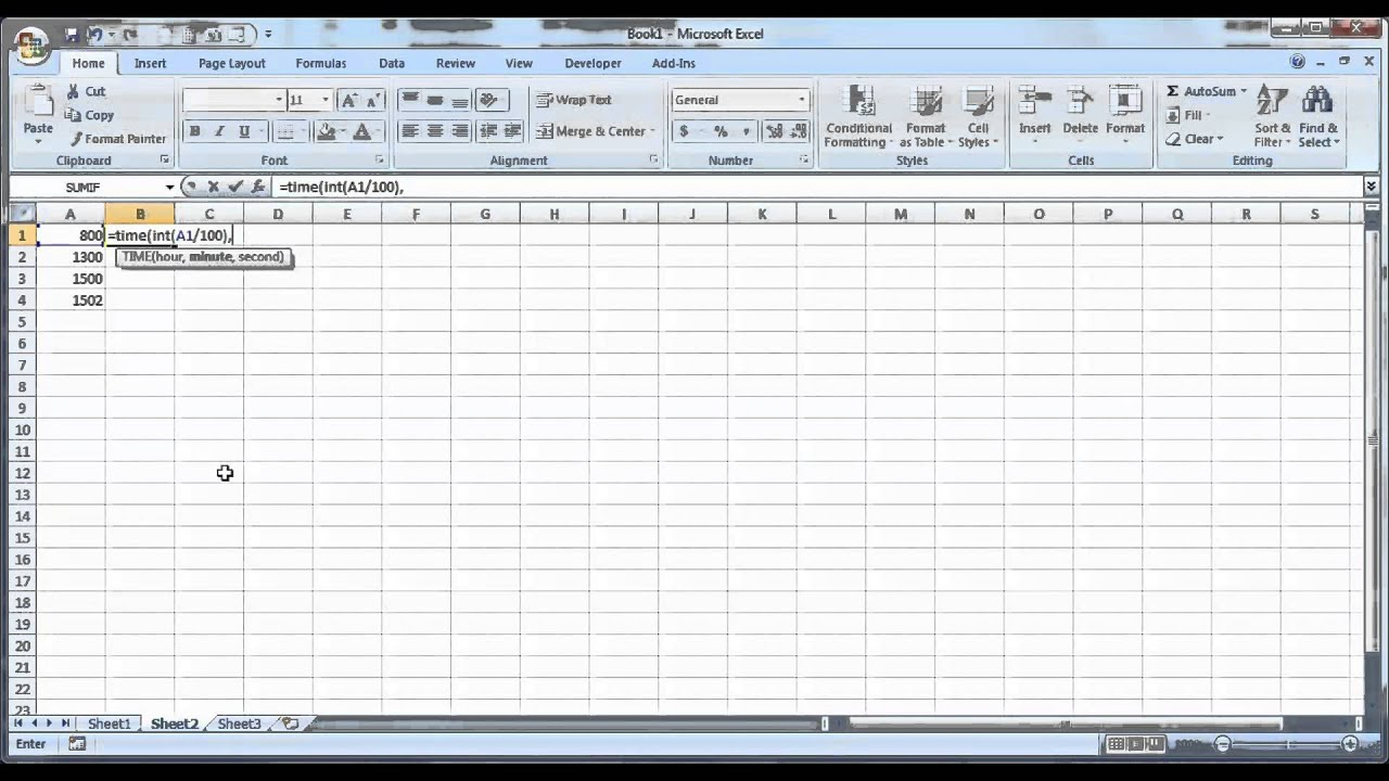 How To Convert Military Time To Regular Time In Excel Spreadsheet
