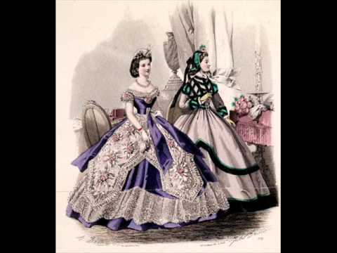 Cage crinoline balldresses from 1850´s and 1860's - YouTube