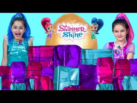 SHIMMER AND SHINE TOY SURPRISE BIRTHDAY PRESENTS OPENING 2! Giant Egg Surprise, Dress-up & Toys