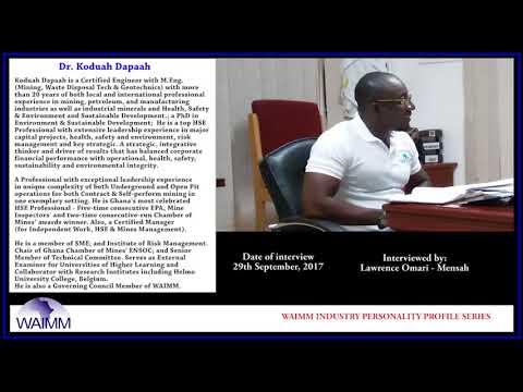 Meet EHS Manager Dr Koduah Dapaah, Kinross Gold - Chirano site, Ghana