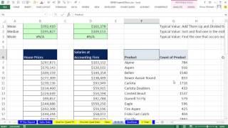 Basic Excel Business Analytics #21: AVERAGE, MEDIAN, MODE.MULT functions & PivotTable Mode