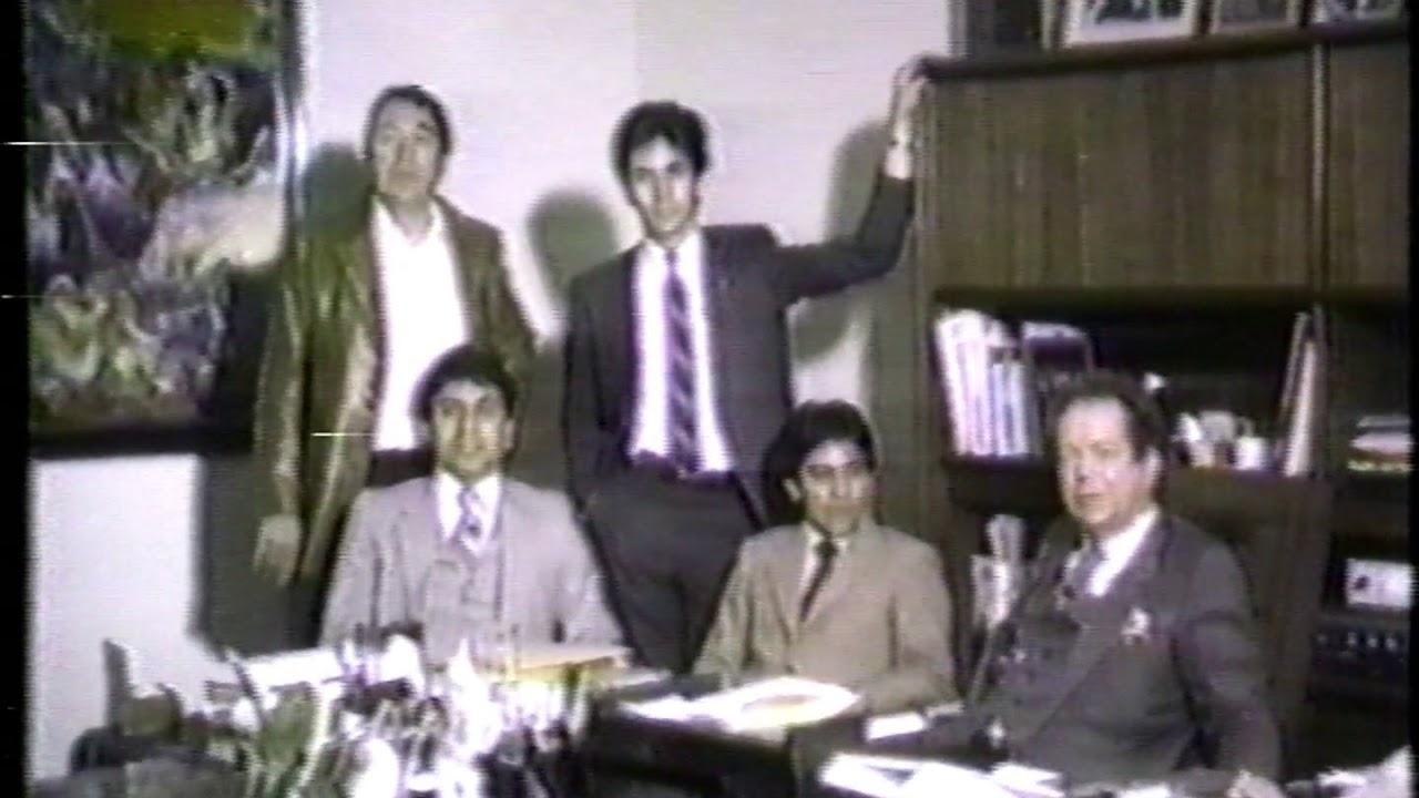 Luis Ernesto Lopez, Rinaldo Porchile, Edgar, Ozzie Delgadillo with J-R in his office 1980's