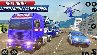 US Police Car Transporter Trailer Truck Driver 3D screenshot 2