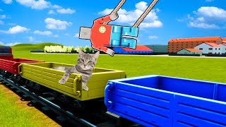 Can Three Best Friends Rescue The Cats from a Moving Lego Train in Brick Rigs?