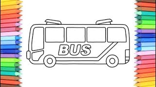 How To Draw A BUS for Kids 💙💜💖 BUS Drawing and Coloring Pages for Kids