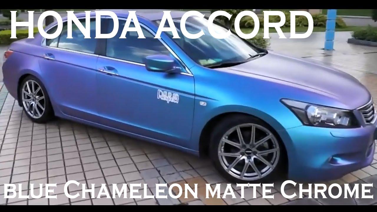 Honda Accord Vinyl Wrapped in blue Chameleon matte Chrome ...