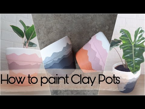 painting-clay-pots-with-acrylic---pot-painting-ideas---diy-mountain-ridge-planter